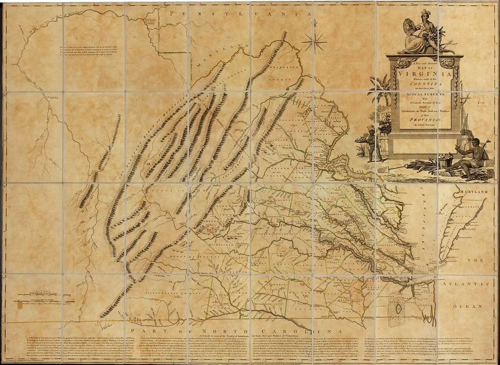 A new and accurate map of Virginia wherein most of the counties are laid down from actual surveys. With a concise account of the number of inhabitants, the trade, soil, and produce of that Province.