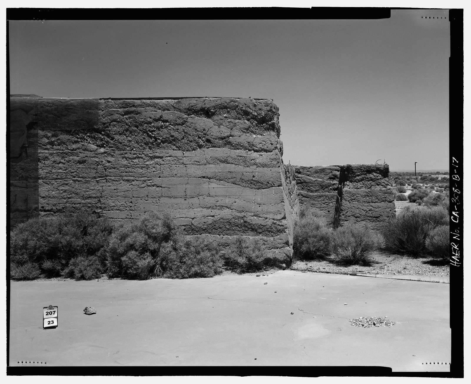 Edwards Air Force Base, South Base, Rammed Earth Aircraft Dispersal Revetments, Western Shore of Rogers Dry Lake, Boron, Kern County, CA