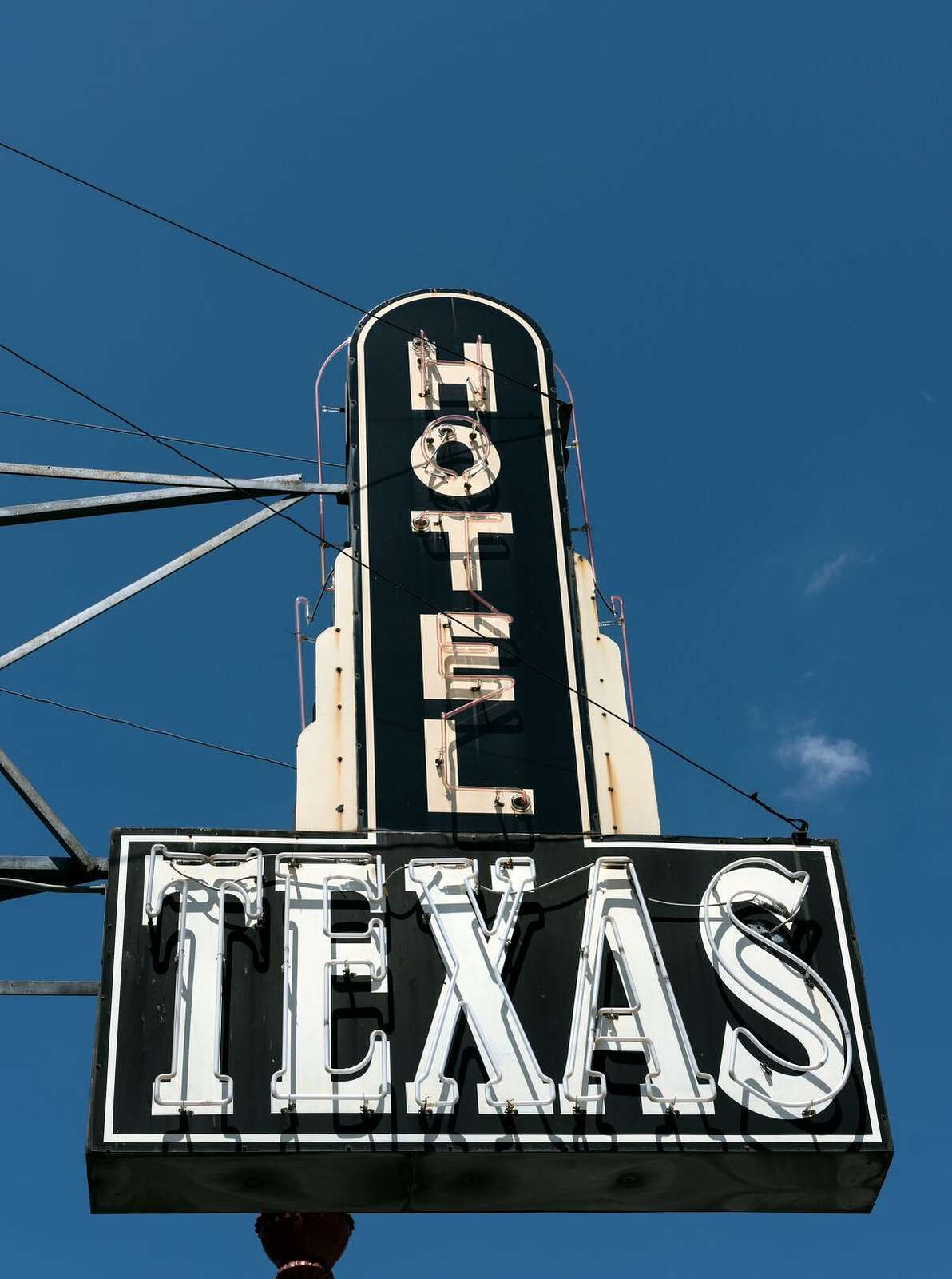 Hotel marquee for Hotel Texas in the Stockyards District of Fort Worth, Texas
