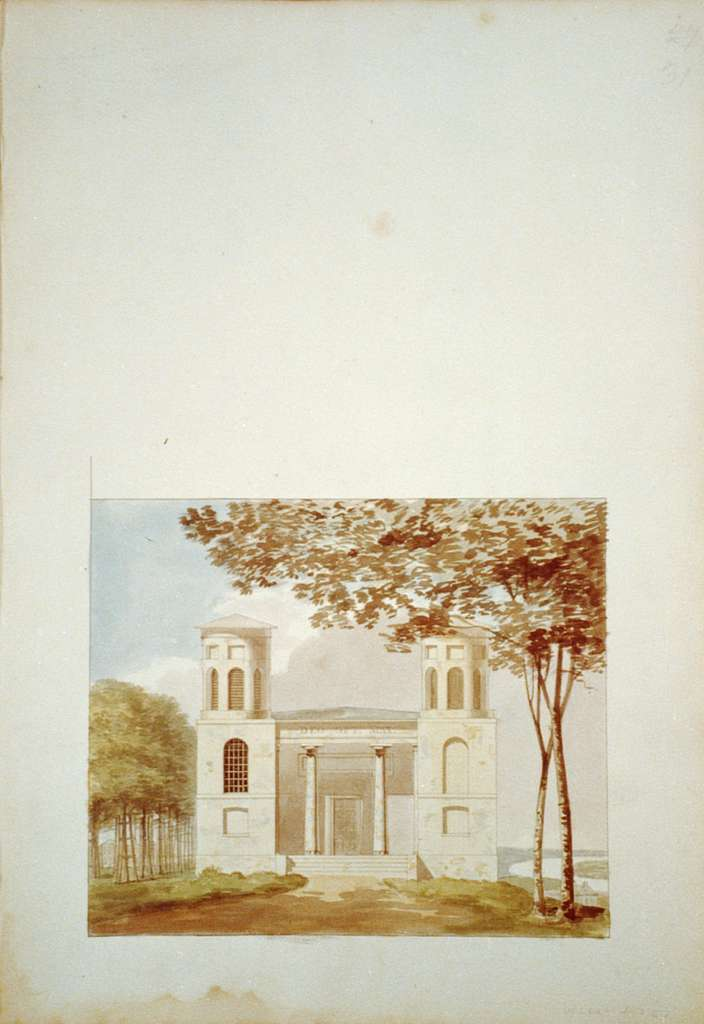 """[Houses and a church (""""Buildings Erected or Proposed to be Built in Virginia""""). Shockoe church - Front elevation rendering]"""