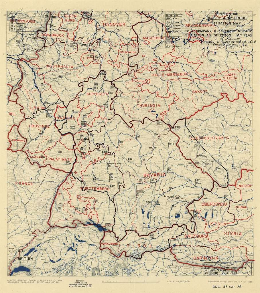 [July 12, 1945], HQ Twelfth Army Group situation map.