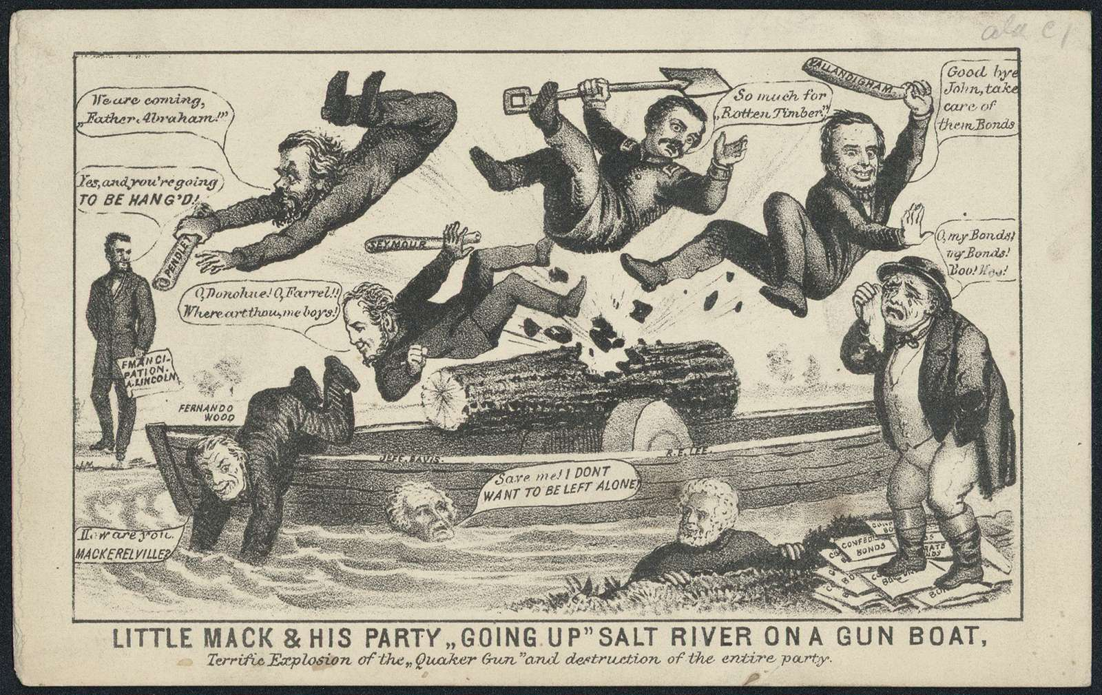 """Little Mack and his party """"going up"""" Salt River on a gunboat. Terrific explosion of the """"Quaker gun"""" and destruction of the entire party."""