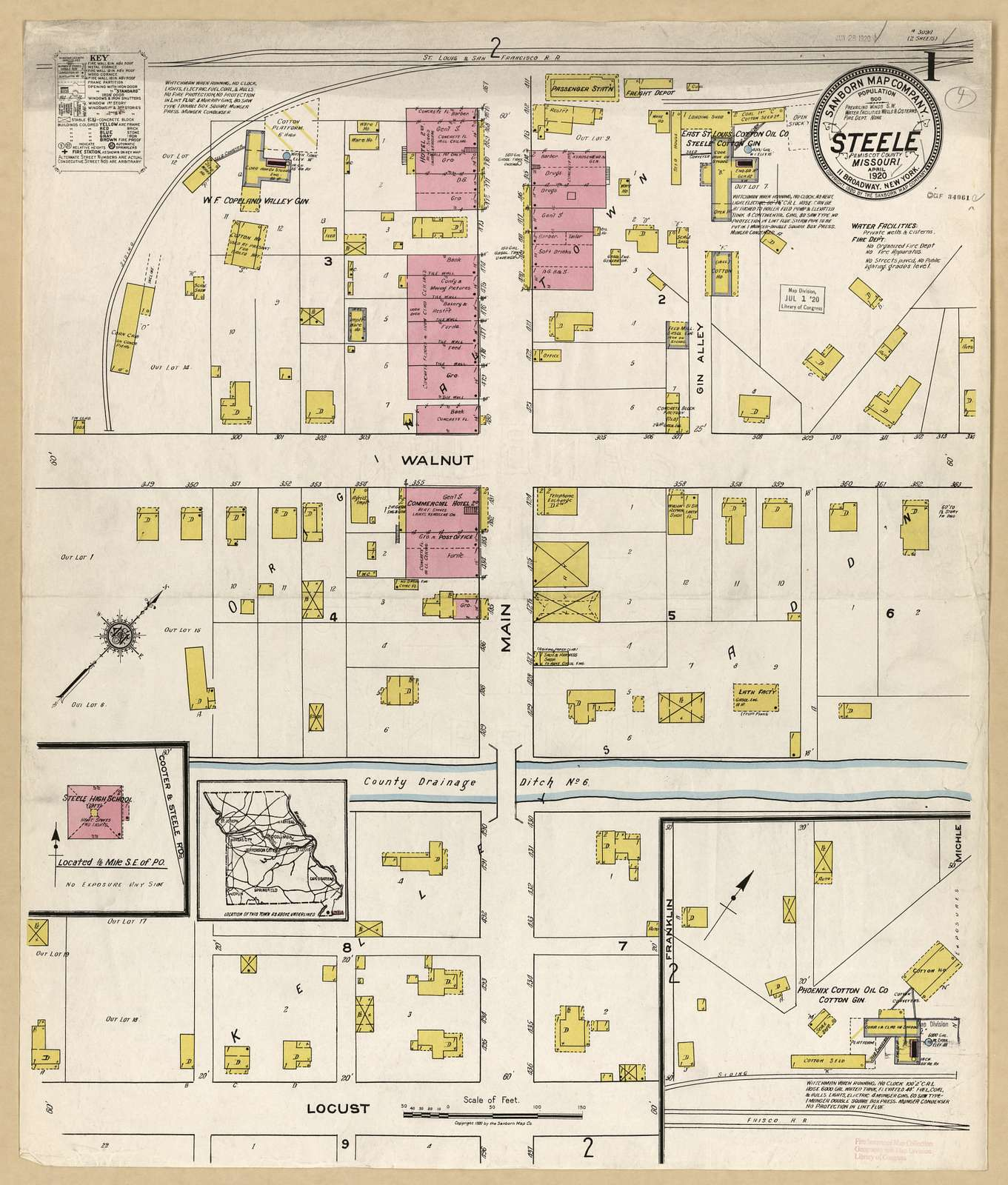 Sanborn Fire Insurance Map from Steele, Pemiscot County, Missouri.