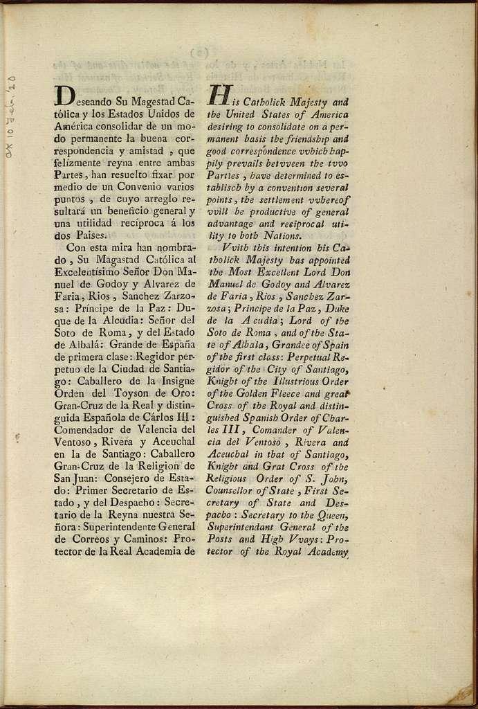 Tratado de amistad, limites y navegacion concluido entre el rey nuestro señor y los Estados Unidos de América; firmado en San lorenzo el Real a 27 de octubre de 1795, de orden del rey.