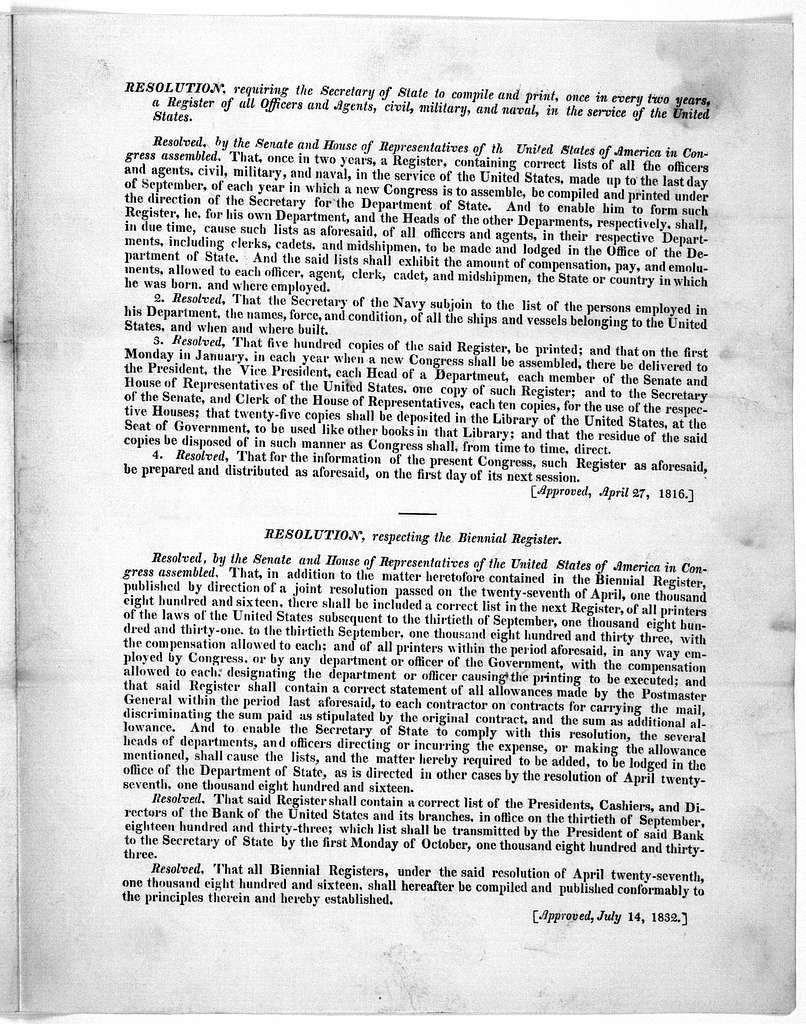 """(Circular) Department of state. Washington 183 I have the honor to subjoin the copy of a resolution of the two houses of Congress, passed the 26th April, 1816 requiring the Secretary of state to """"compile and print, once in every two years, a reg"""