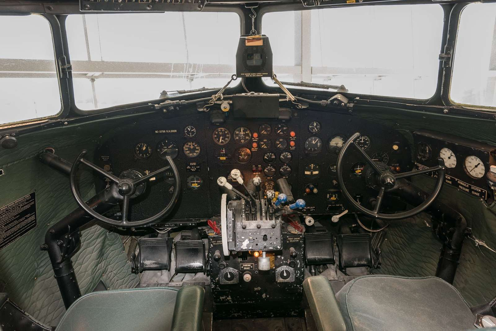 Cockpit of the Flagship Knoxville, a fully restored DC-3 aircraft at the American Airlines C.R. Smith Museum on the campus of the American Airlines Flight Academy, at the southern end of DFW International Airport near the world headquarters of American Airlines