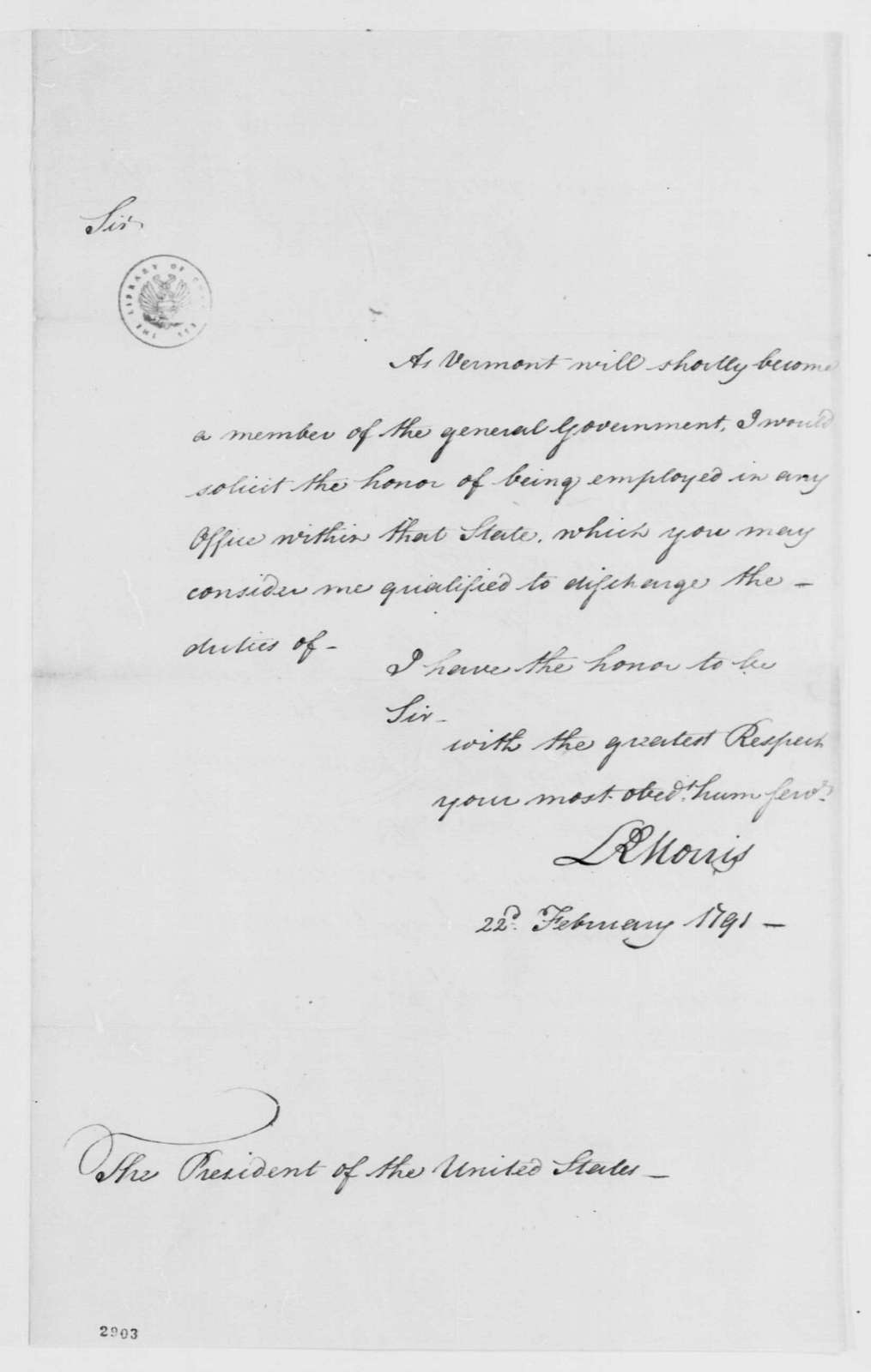George Washington Papers, Series 7, Applications for Office, 1789-1796: Lewis R. Morris