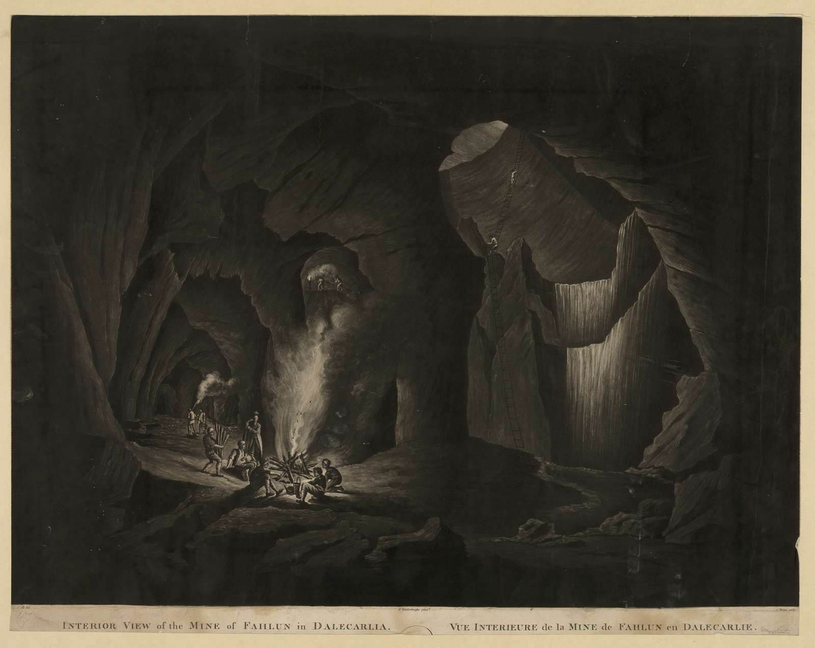 Interior view of the mine of Fahlun in Dalecarlia