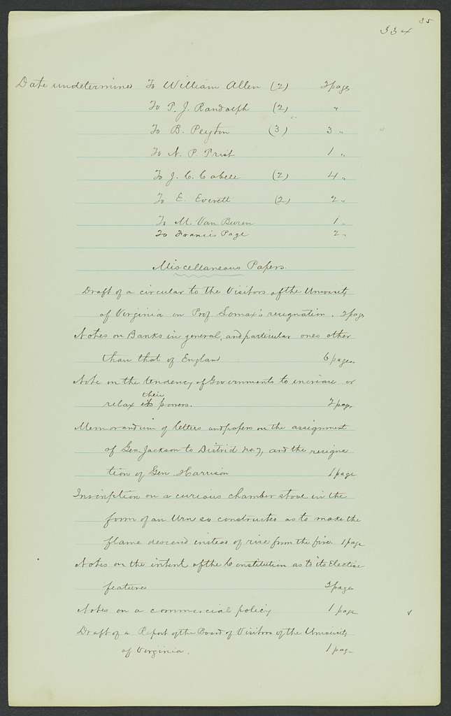 James Madison Papers: Series 7, Addenda, 1744-1845; 1979-1985 Addition; Part C, miscellany; List of letters sent and received by Madison, 1796-1836