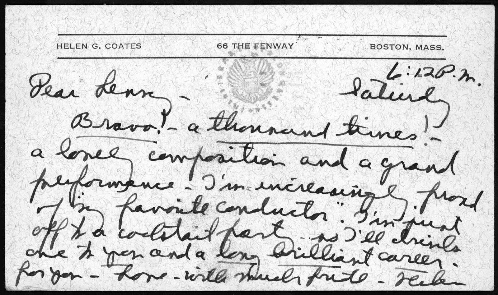 Letter from Helen Coates to Leonard Bernstein, n.d