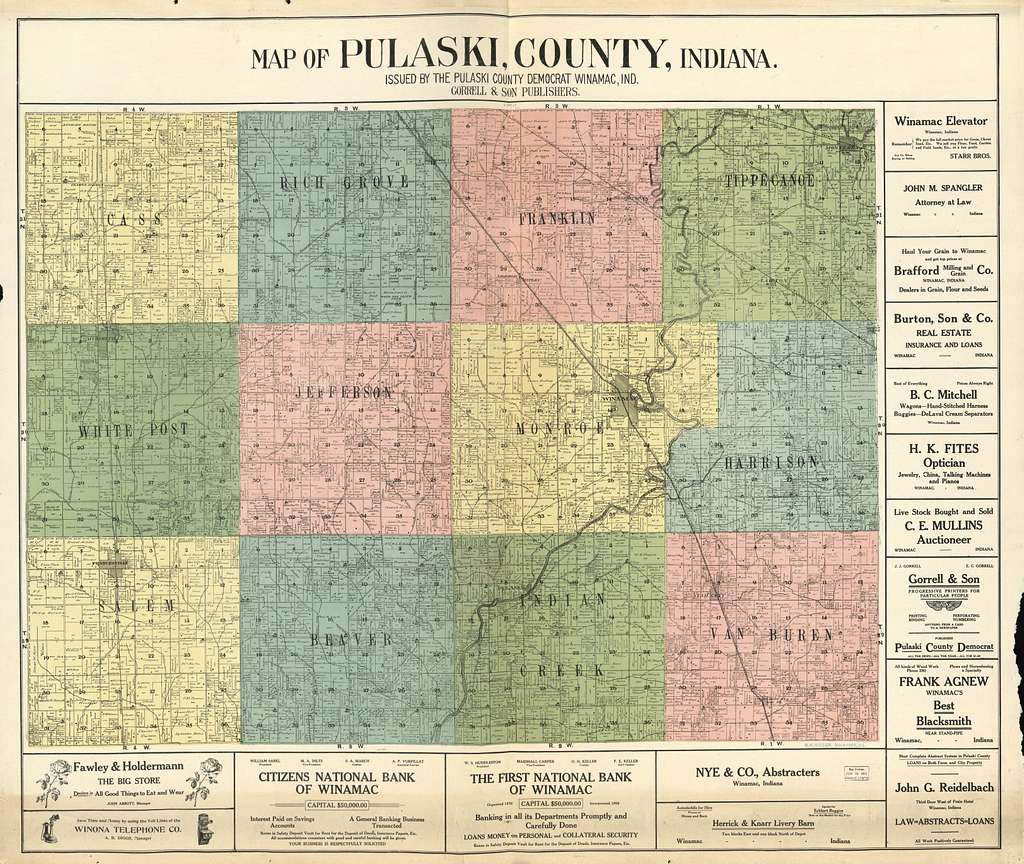 Map of Pulaski County, Indiana /