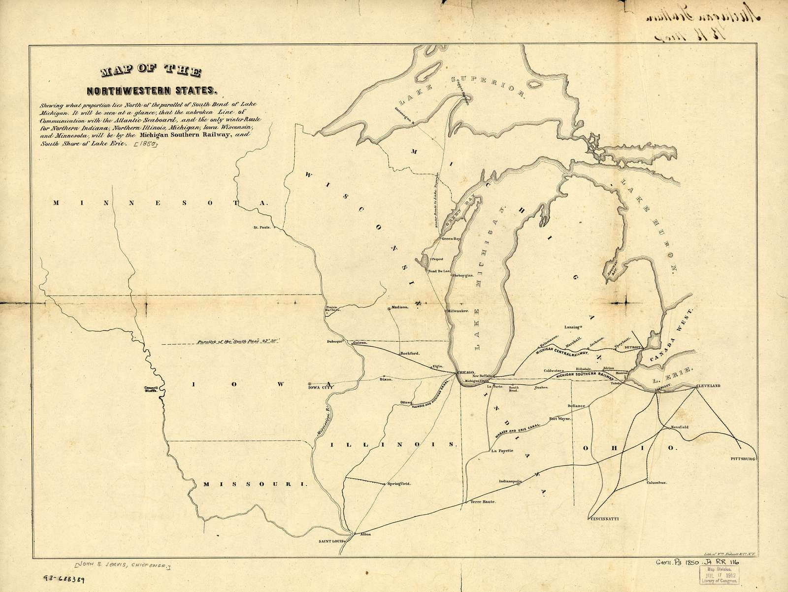 Map of the northwestern states. Shewing [sic] what proportion lies north of the parallel of South Bend of Lake Michigan. It will be seen at a glance, that the unbroken line of communication with the Atlantic seaboard, and the only winter route for northern Indiana, northern Illinois, Michigan, Iowa, Wisconsin, and Minnesota, will be by the Michigan Southern Railway, and south shore of Lake Erie.