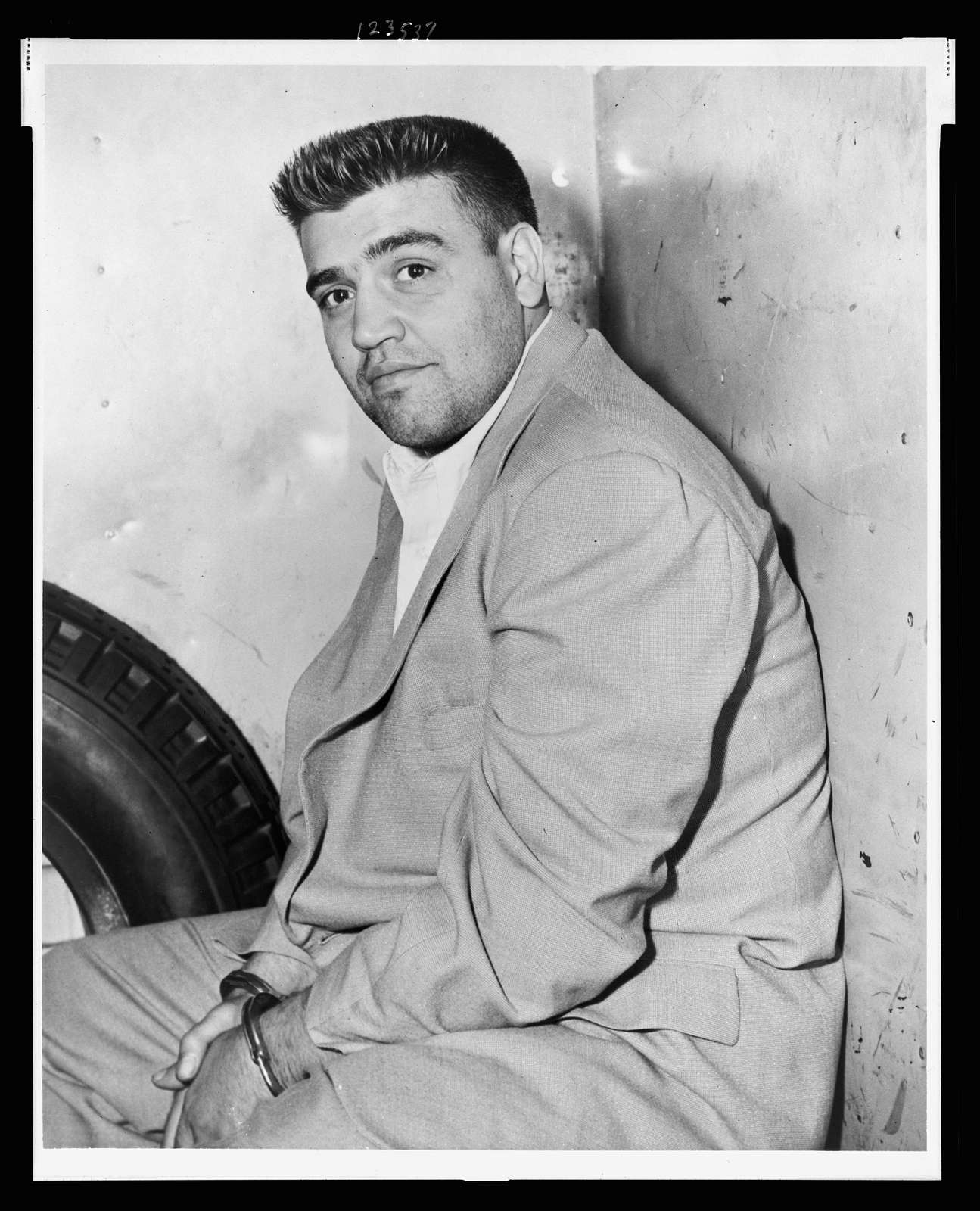[Vincent Gigante, three-quarter length portrait, seated, facing front] / World Telegram & Sun photo by Phil Stanziola.
