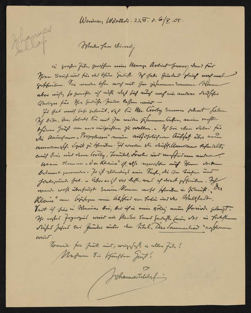 Walt Whitman Papers in the Charles E. Feinberg Collection: Addenda, 1763-1985; Addition (1997), 1763-1985; Supplementary file; General correspondence; Schlaf, Johannes, 1905-1906 , 1918 , 1924