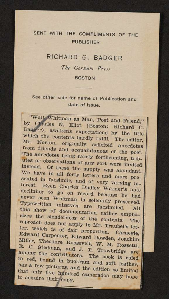 Walt Whitman Papers in the Charles E. Feinberg Collection: Addenda, 1763-1985; Addition (1997), 1763-1985; Miscellany; Scrapbooks; Vol. 5, 1905-1950, undated; Folder 1 of 2