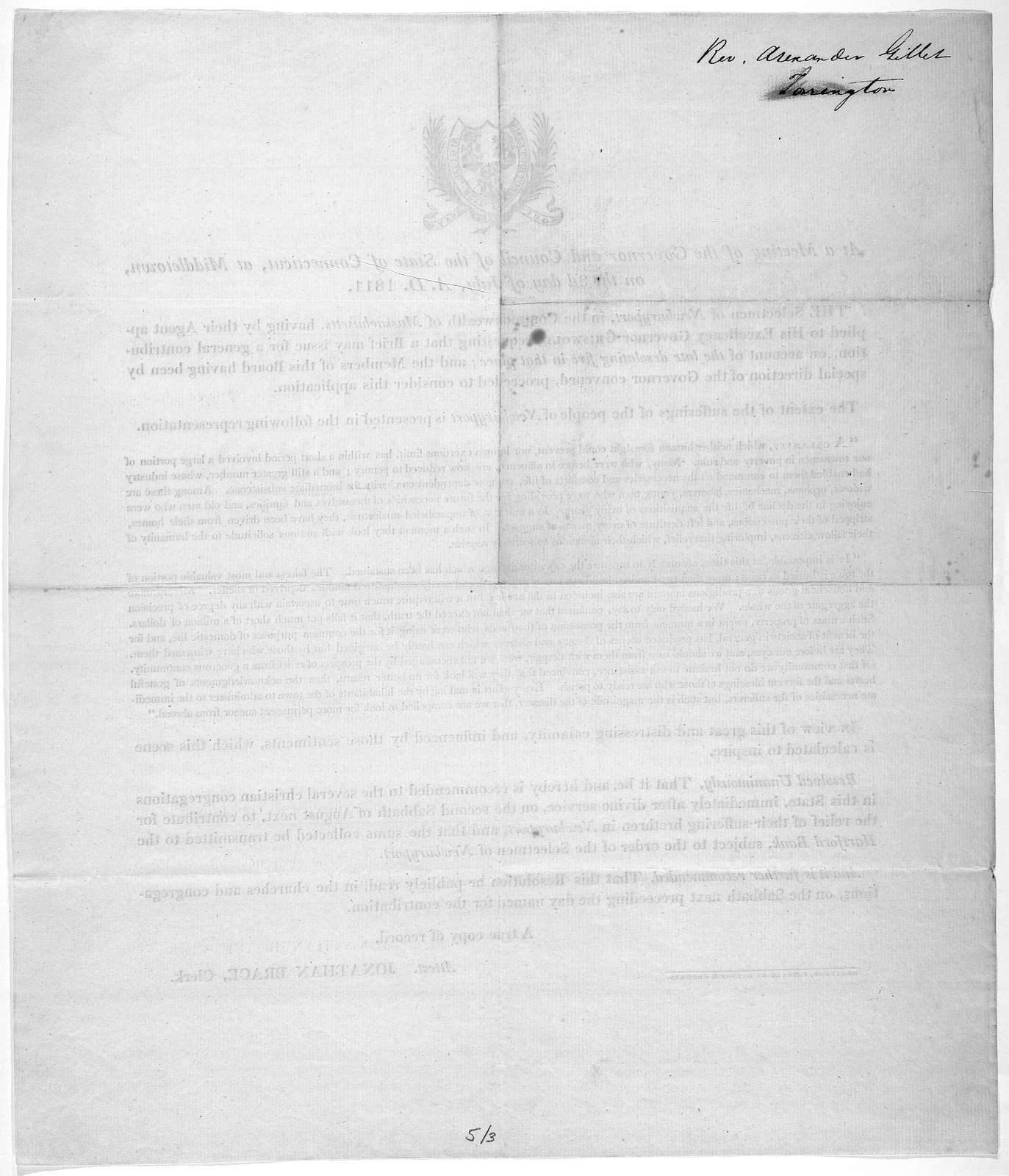 At a meeting of the Governor and Council of the State of Connecticut, at Middletown, on the 3d day of July A. D. 1811. The selectmen of Newburyport, in the Commonweath of Massachusetts, having by their agent applied to His Excellency Governor Gr
