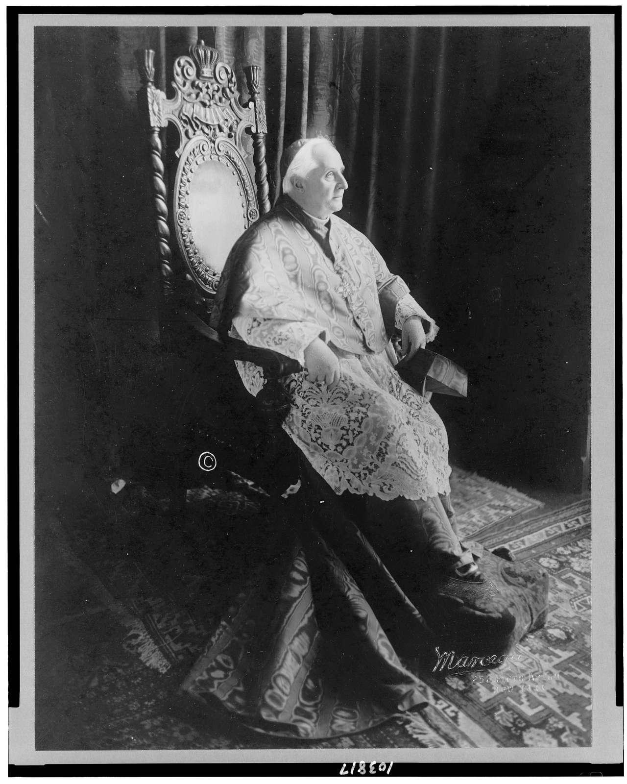 [Cardinal John Murphy Farley, full-length portrait, seated, facing right] / Marceau, New York.