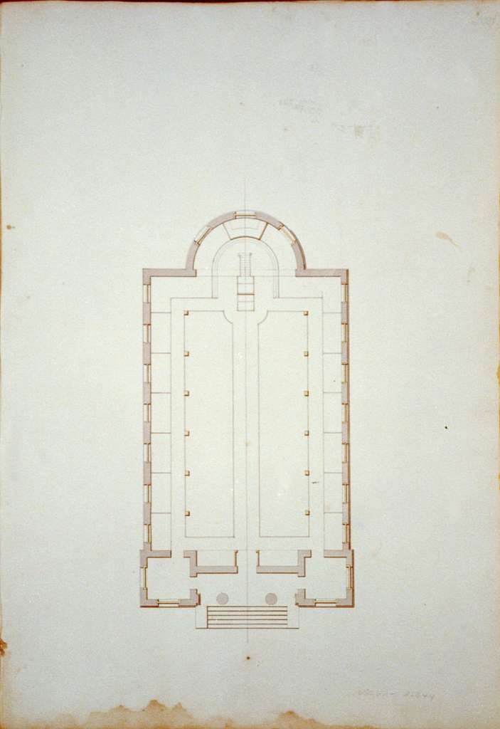 """[Houses and a church (""""Buildings Erected or Proposed to be Built in Virginia""""). Shockoe church - Floor plan]"""