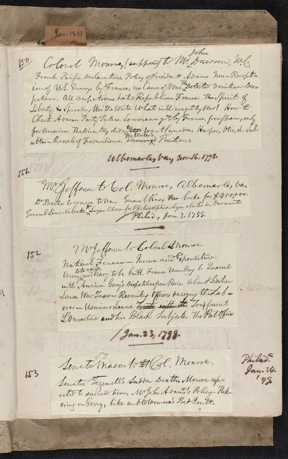 James Monroe Papers: Series 4, Addenda, 1778-1831; 1979-1985 additions; Part D, miscellany; Holograph notes listing correspondence, 1780-1814