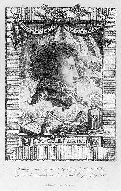 M. Garnerin / drawn and engraved by Edward Hawke-Locker, from a sketch made on their aerial voyage July 5, 1802.