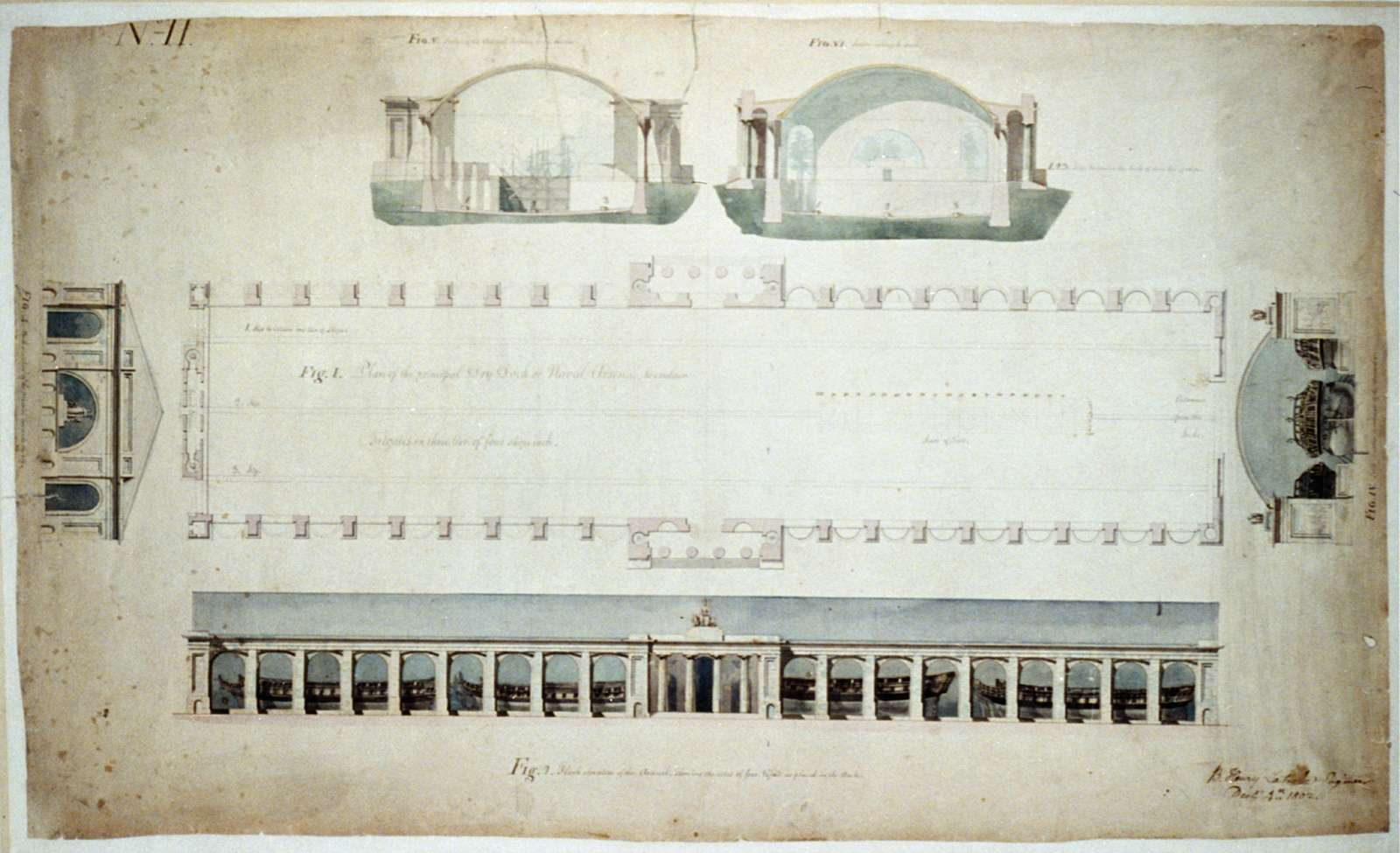 """[Navy yard (""""Dry Dock and Naval Arsenal""""), on the Anacostia River, Washington, D.C. Dry dock plan and arsenal elevation]"""
