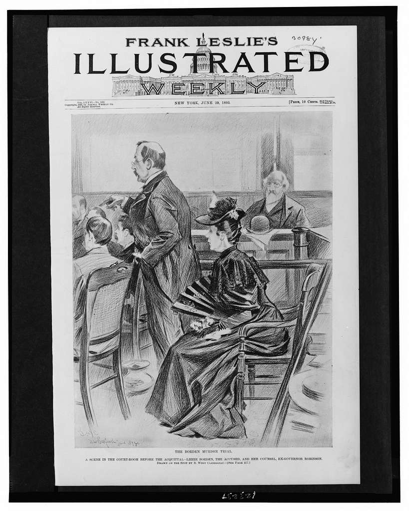 The Borden murder trial--A scene in the court-room before the acquittal - Lizzie Borden, the accused, and her counsel, Ex-Governor Robinson / drawn on the spot by B. West Clinedinst.