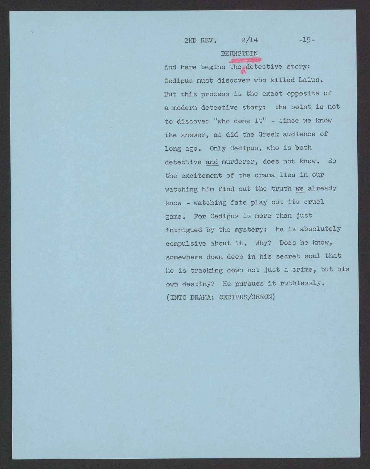 Drama into opera: Oedipus Rex TV script, Ford Presents, 1961 Feb. 26