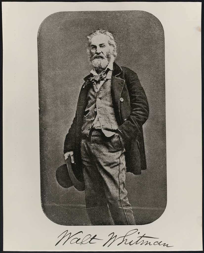 [Walt Whitman, full-length portrait, standing with hand in pocket and holding hat]