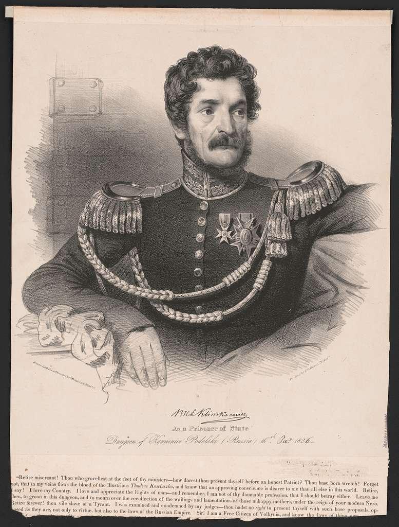 B.H.L. Klimkiewicz as a prisoner of state dungeon of Kaienice Podolski (Russia)