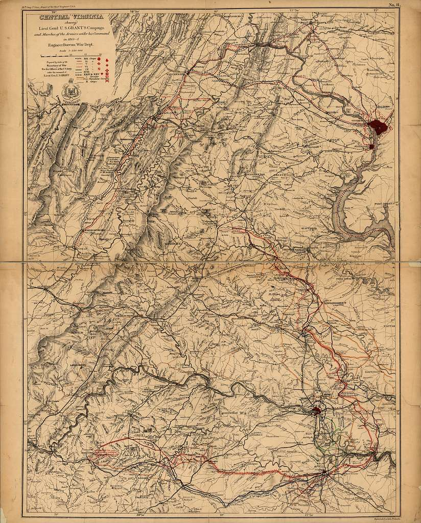 [Central Virginia showing Lieut. Gen'l. U.S. Grant's Campaign and marches of the armies under his command in 1864-65