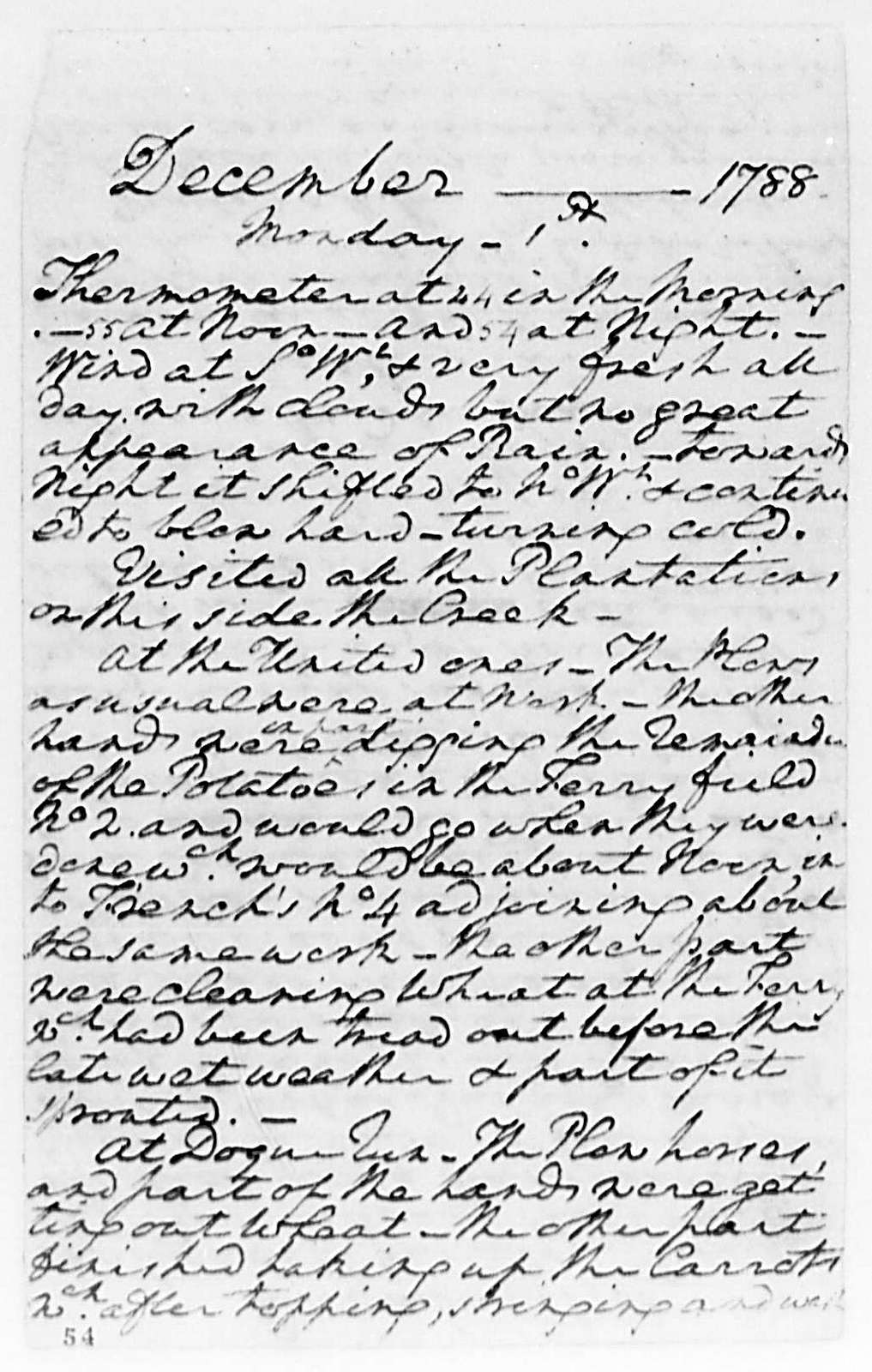 George Washington Papers, Series 1, Exercise Books, Diaries, and Surveys 1745-99, Subseries 1B, Diaries 1748-1799: Diary, August 1, 1788 - February 2, 1789