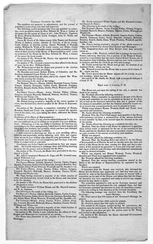 [Journal of the proceedings of the House of Representatives. 11 issues in broadside form, Nov. 23-25, Dec. 4, 15, 17, and 18, 1846; Jan. 1, 4, and 5, 1847]. [Tallahassee, 1846-7].