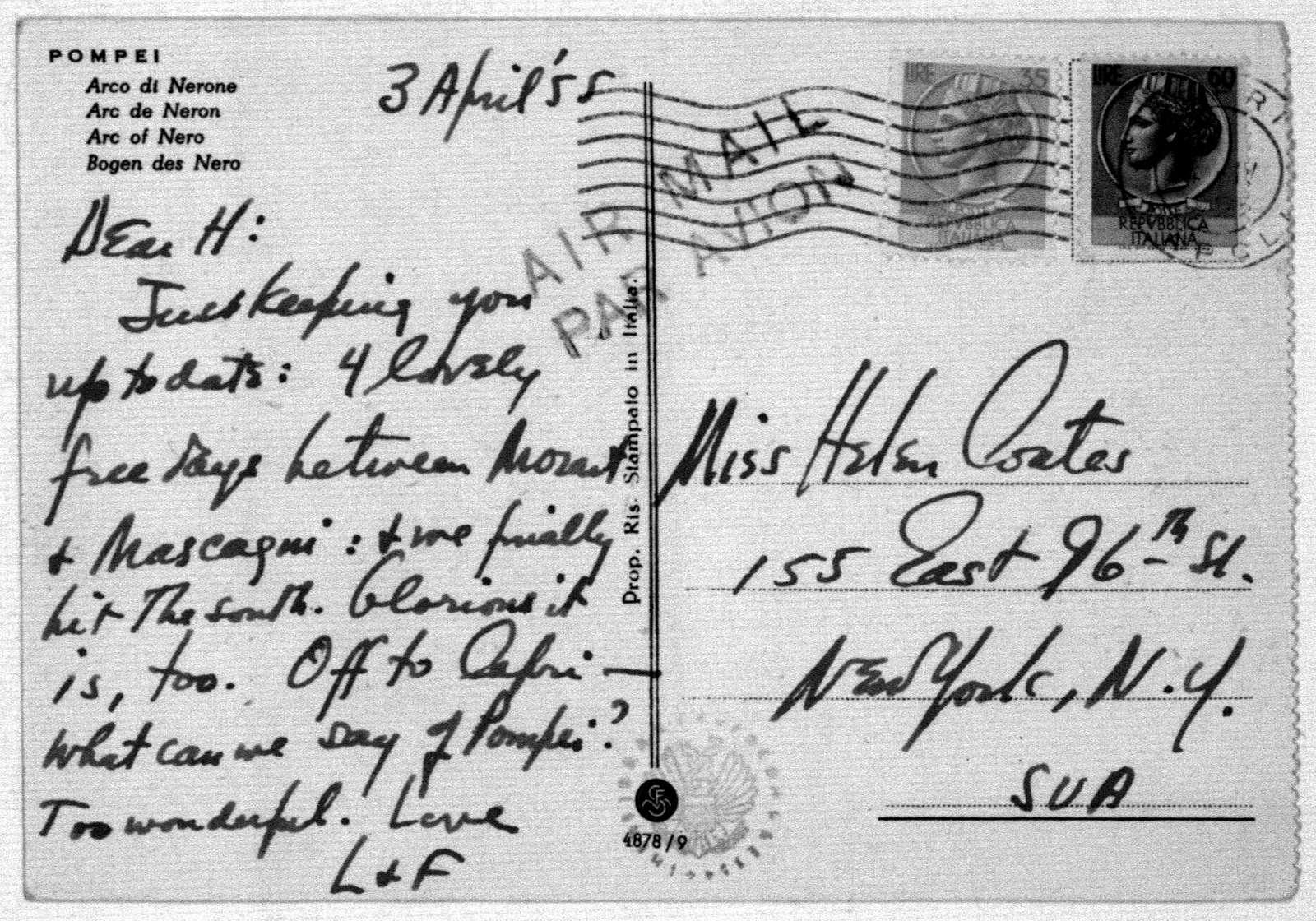 Letter from Leonard & Felicia Bernstein to Helen Coates, April 3, 1955