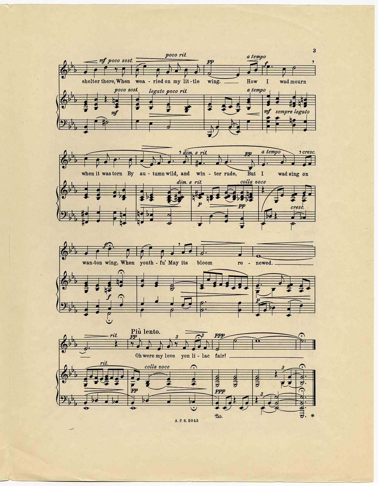 Oh were my love yon lilac fair! Op. 43, No. 3.