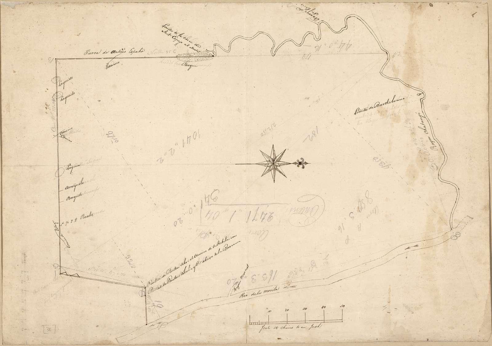 [Plat of land along the Rio de la Movila near its juncture with Bayou Chataugé].