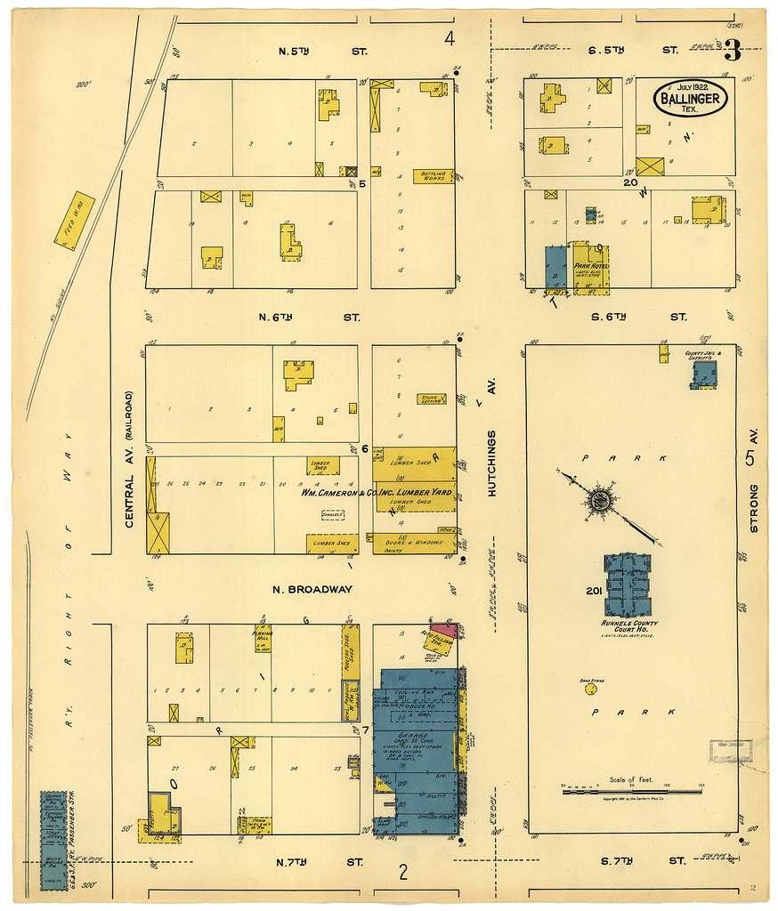 Sanborn Fire Insurance Map from Ballinger, Runnels County, Texas.