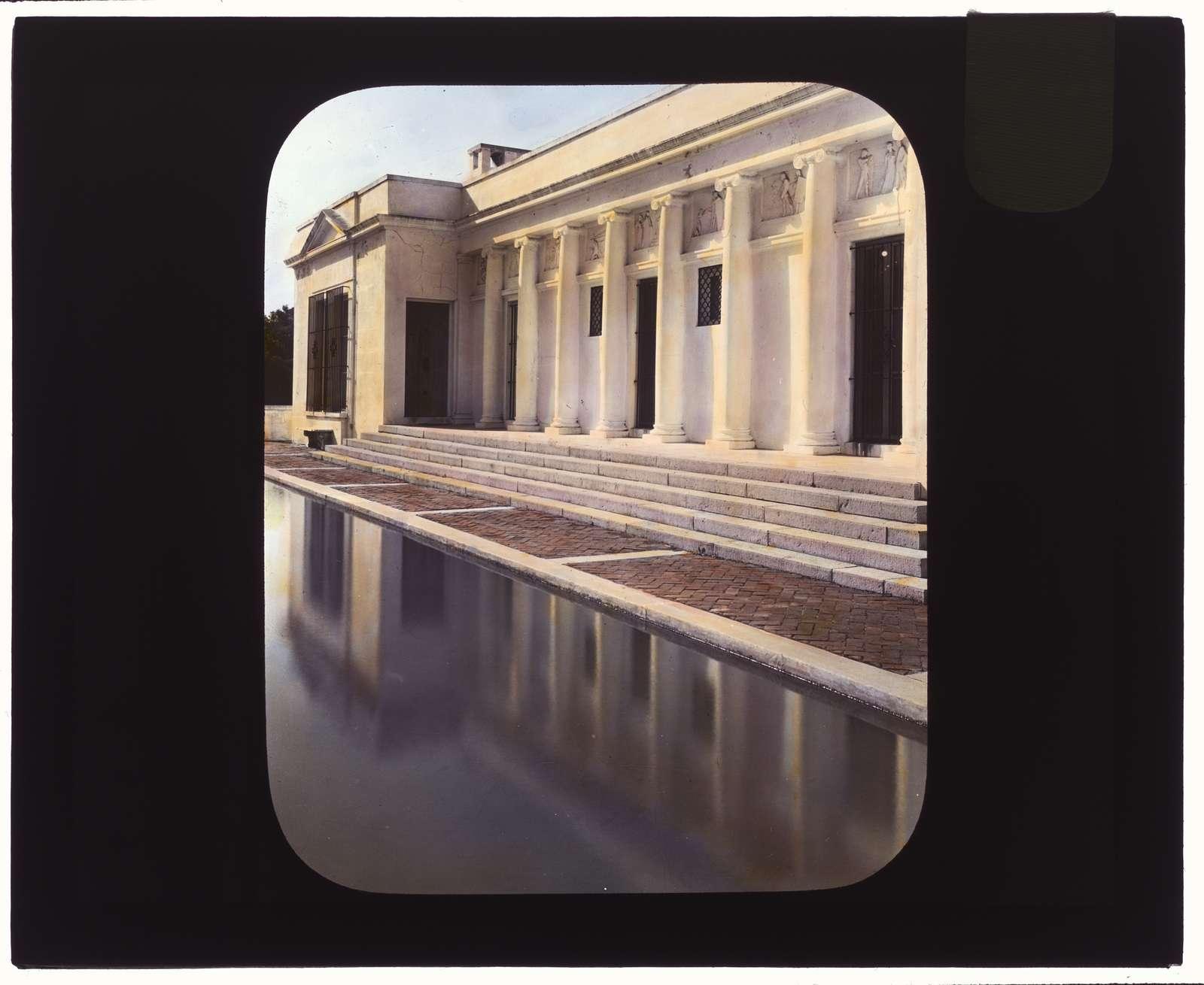 "[""El Fureidis,"" James Waldron Gillespie house, Parra Grande Lane, Montecito, California. Water terrace facade]"