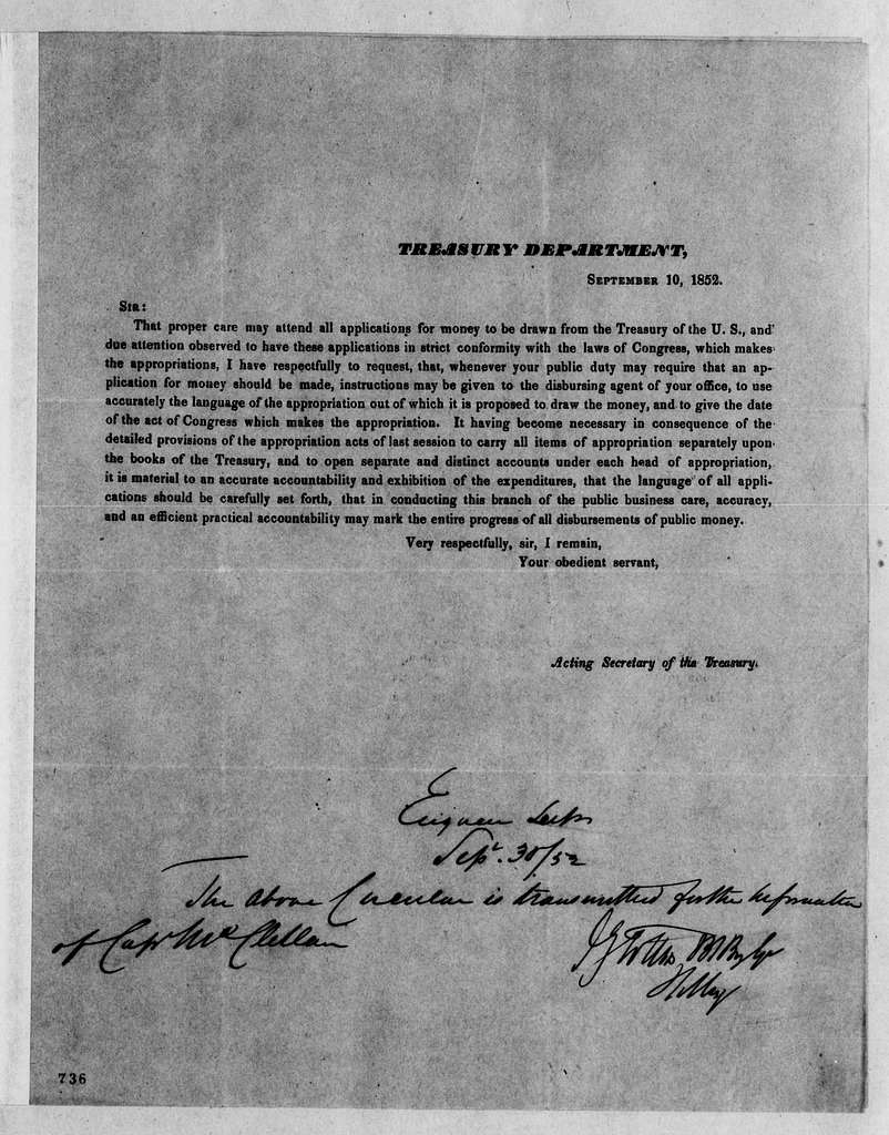 George Brinton McClellan Papers: Correspondence I, 1783-1888; 1852, Aug. 17-1853, June 29