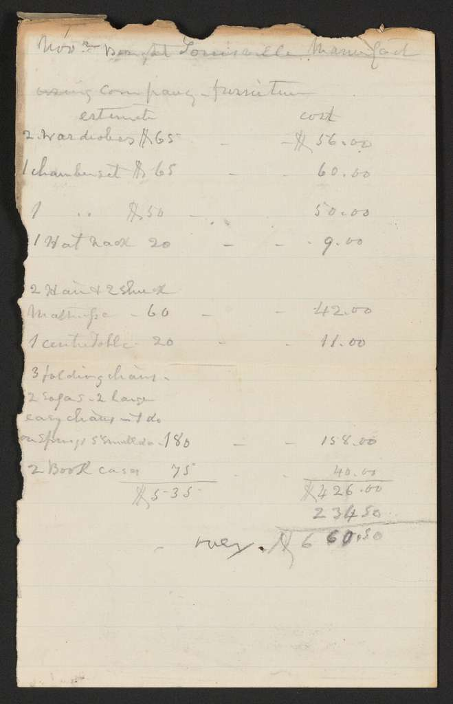 Joseph Holt Papers: Financial Papers, 1822-1894; Bills and receipts; Undated; 3 of 6