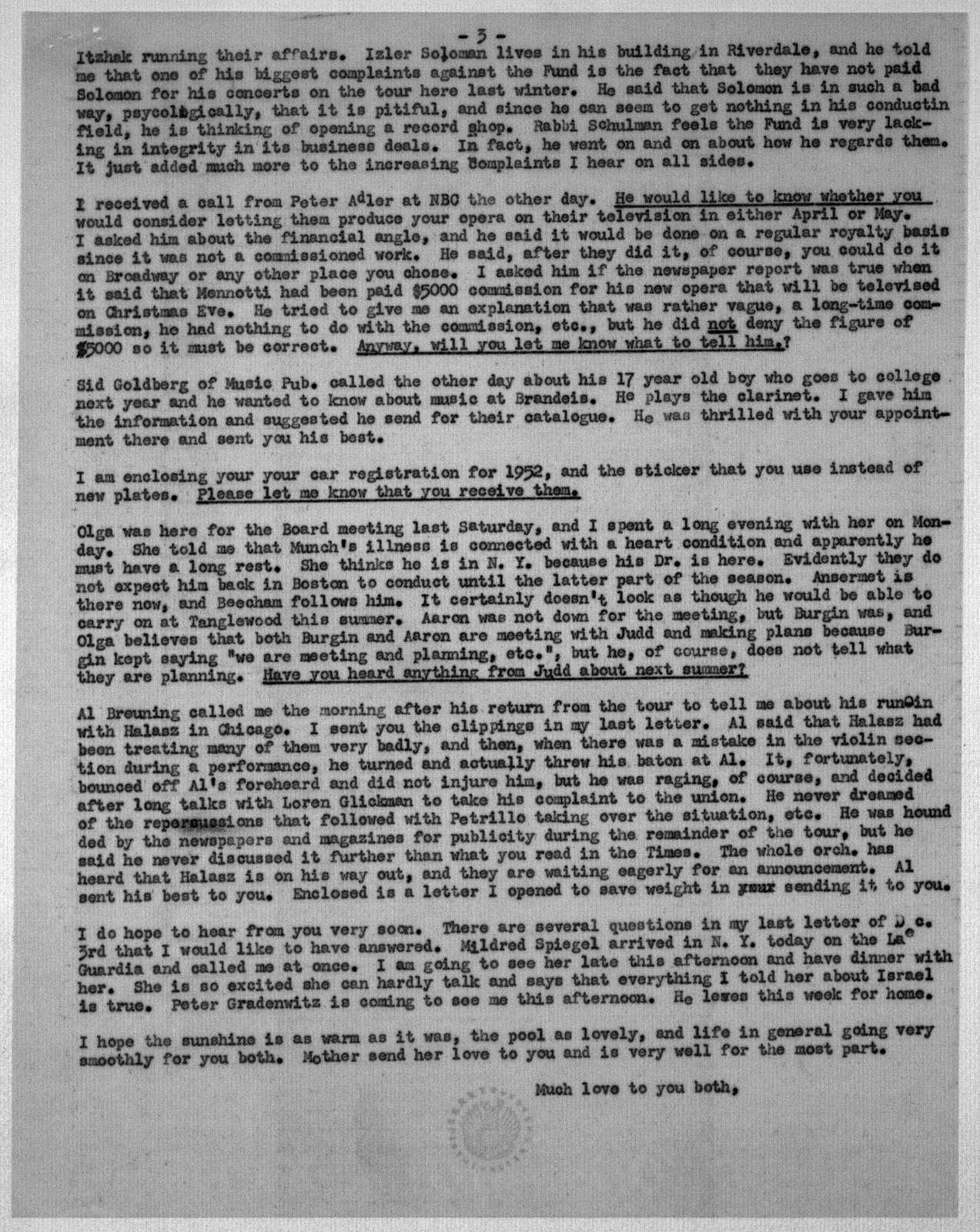 Letter from Helen Coates to Leonard & Felicia Bernstein, December 13, 1951