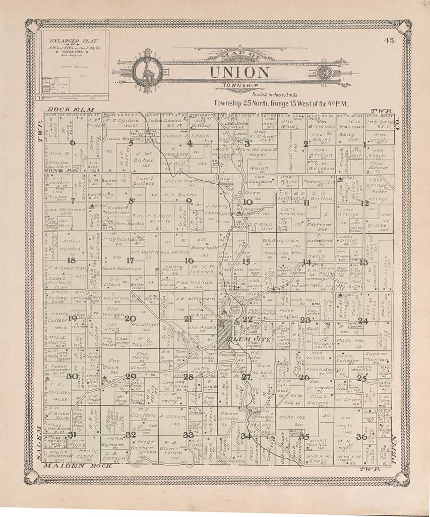 Standard atlas of Pierce County, Wisconsin : including a plat book of the villages, cities and townships of the county, map of the state, United States and world : patrons directory, reference business directory and departments devoted to general information, analysis of the system of U.S. land surveys, digest of the system of civil government, etc. etc. /