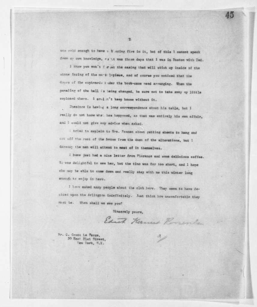 Theodore Roosevelt Papers: Series 2: Letterpress Copybooks, 1897-1916; Vol. 107, Mrs. Roosevelt, 1905, Jan. 6-1909, Feb. 27