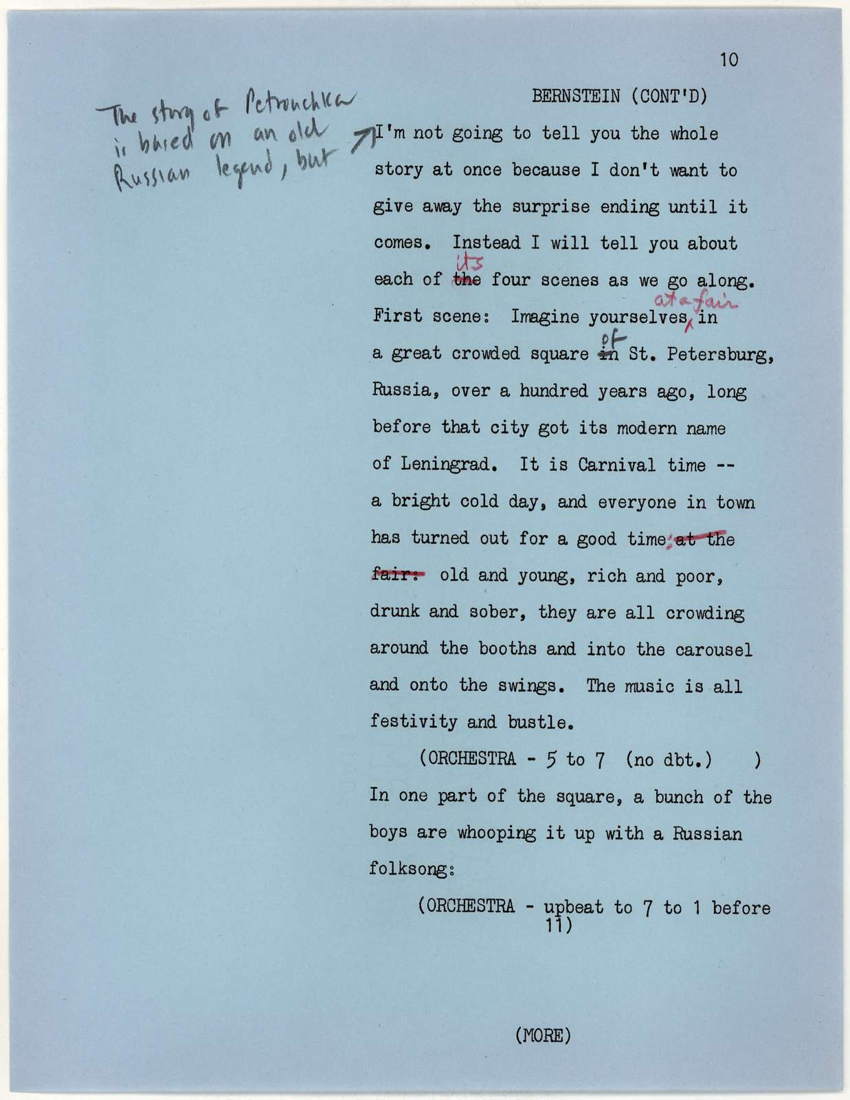 Thursday Evening Previews Scripts: Copland in the Twenties [typescript with emendations in red, blue & black pencil]