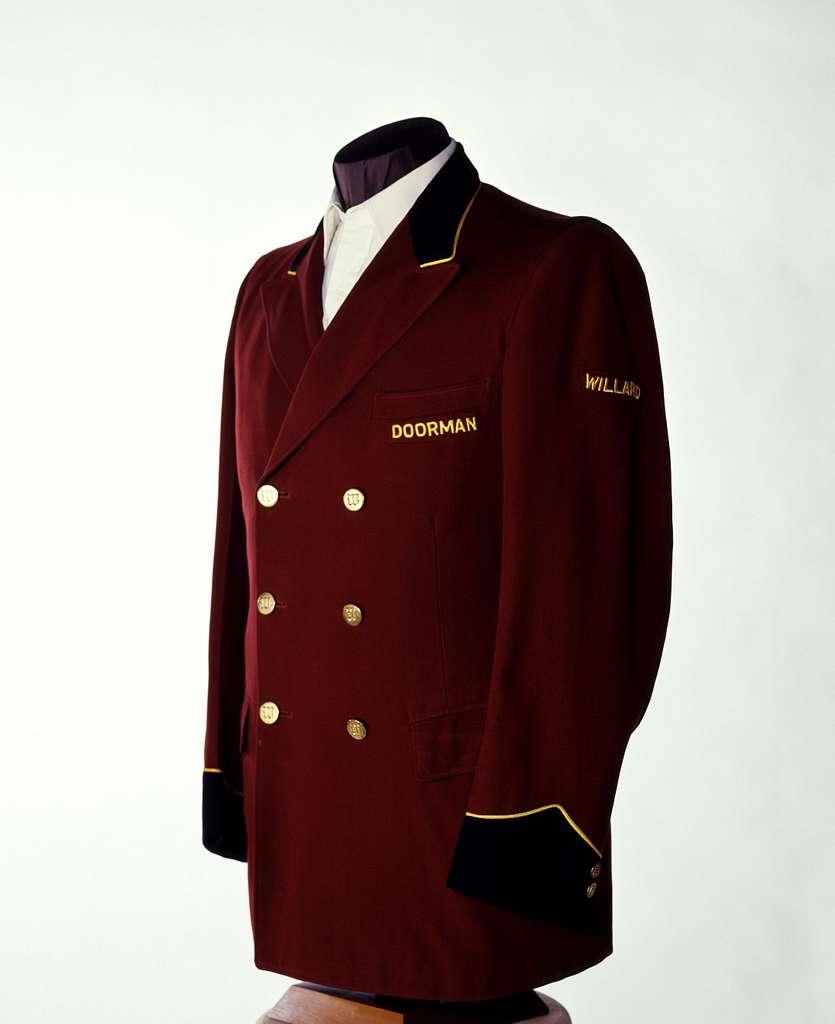 Willard Hotel doorman's jacket that was worn in the early 1900s. Washington, D.C.