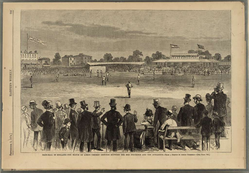 Base-ball in England - the match on Lord's cricket grounds between the Red Stockings and the Athletics / from a sketch by Abner Crossman.