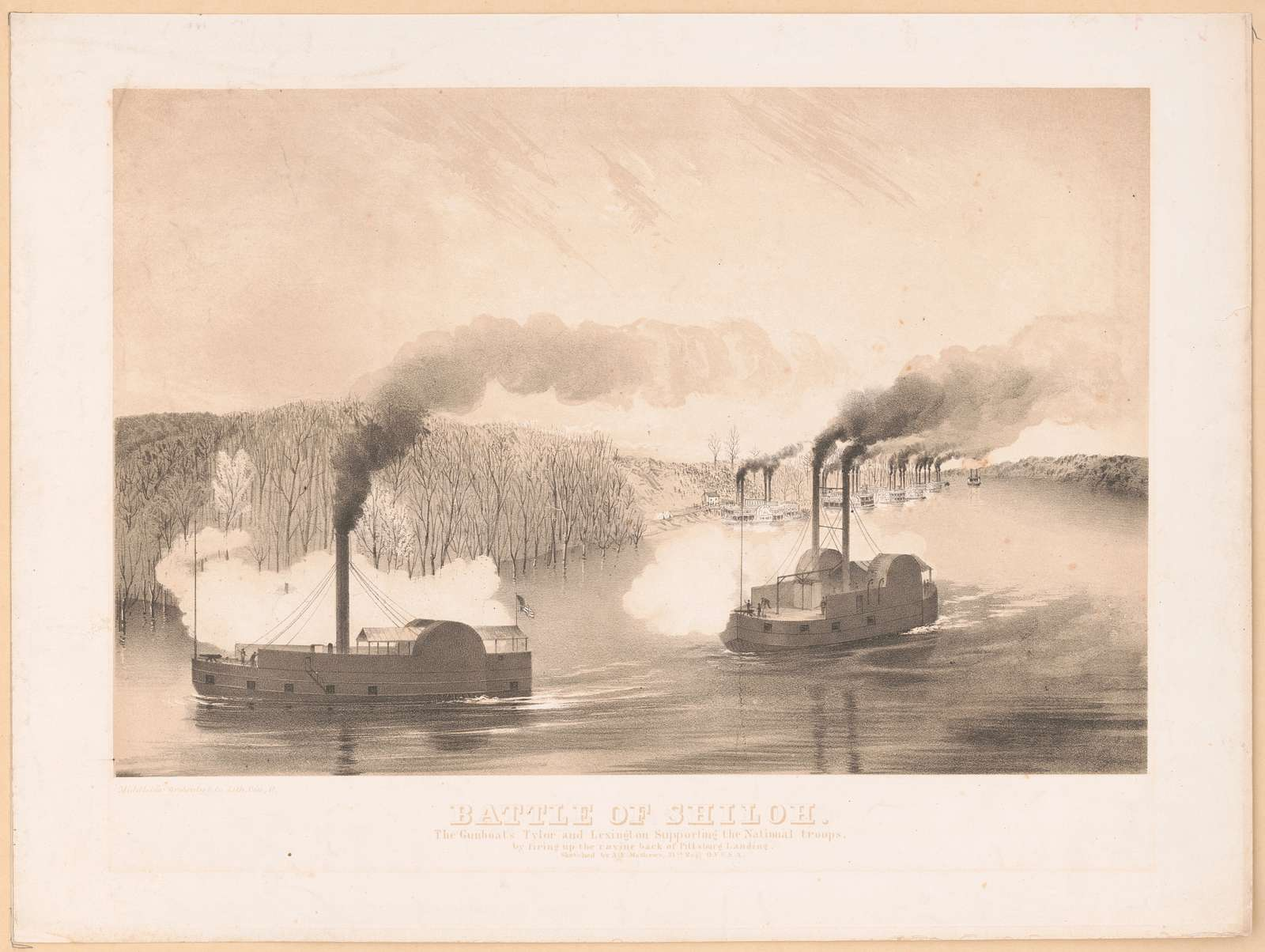 Battle of Shiloh. The gunboats Tylor [i.e. Tyler] and Lexington supporting the national troops