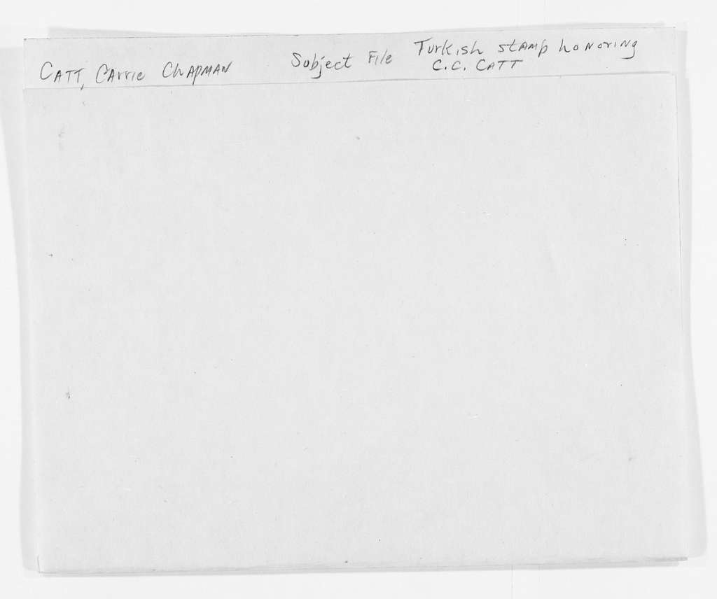 Carrie Chapman Catt Papers: Subject File, 1848-1950; Turkish stamp honoring Catt