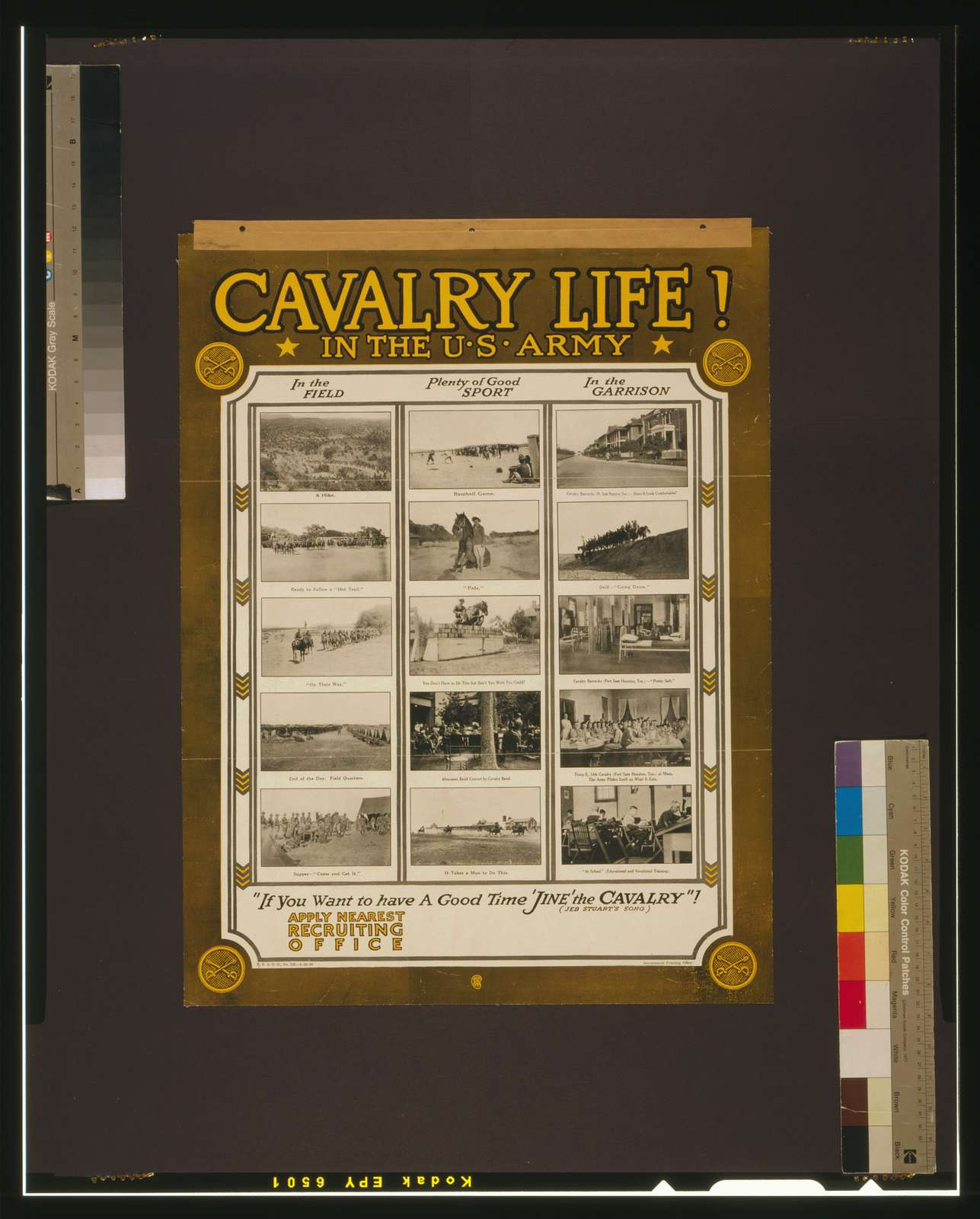 """Cavalry life! In the U.S. Army """"If you want to have a good time 'jine' the cavalry!"""" (Jeb Stuart's song)."""