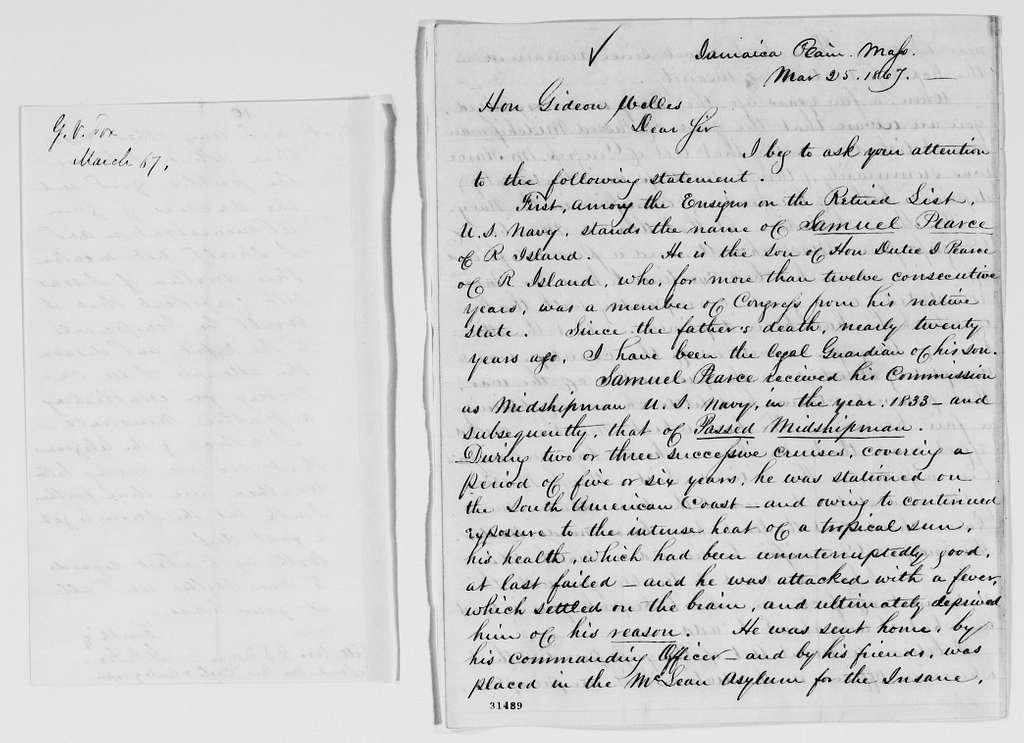 Gideon Welles Papers: Correspondence, 1820-1878; 1866, Dec.-1867, Mar