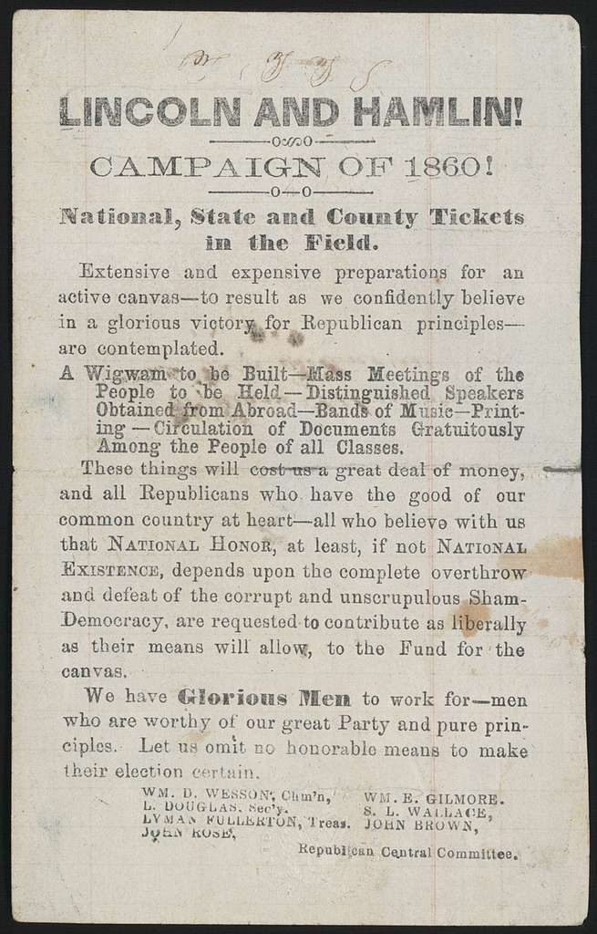 Lincoln and Hamlin! Campaign of 1860!